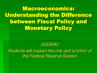 Macroeconomics: Understanding the Difference between Fiscal Policy and Monetary Policy