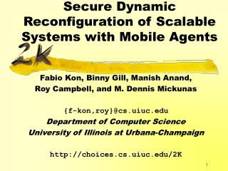 Secure Dynamic Reconfiguration of Scalable Systems with Mobile Agents
