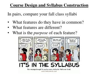 Course Design and Syllabus Construction
