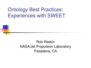 Ontology Best Practices:  Experiences with SWEET