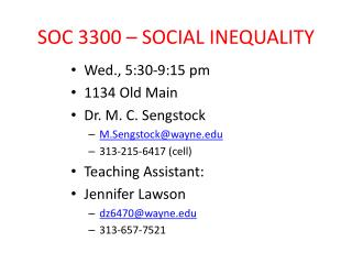 SOC 3300 – SOCIAL INEQUALITY