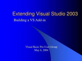 Extending Visual Studio 2003