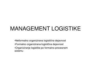 MANAGEMENT LOGISTIKE