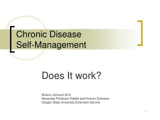 Chronic Disease  Self-Management
