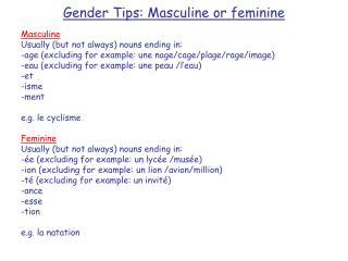 Gender Tips: Masculine or feminine