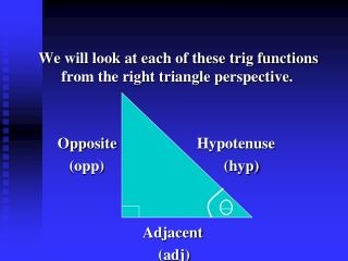 We will look at each of these trig functions from the right triangle perspective.