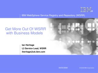 Get More Out Of WSRR  with Business Models