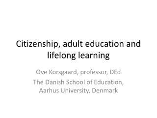 Citizenship, adult education and lifelong learning