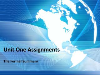 Unit One Assignments