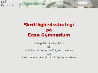 Skriftlighedsstrategi på Egaa Gymnasium