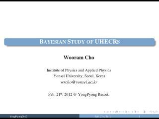 Bayesian Study of UHECRs