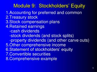 Module 9:  Stockholders' Equity