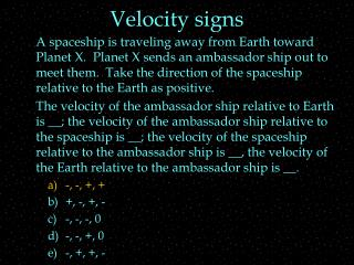 Velocity signs