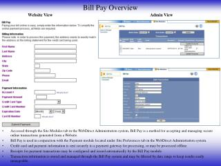 Bill Pay Overview
