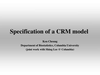 Specification of a CRM model