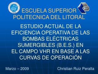 ESTUDIO ACTUAL DE LA EFICIENCIA OPERATIVA DE LAS BOMBAS EL CTRICAS SUMERGIBLES B.E.S. EN  EL CAMPO VHR EN BASE A LAS CUR
