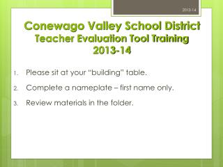 Conewago Valley School District Teacher Evaluation Tool Training 2013-14