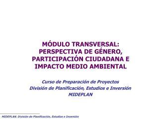 MÓDULO TRANSVERSAL: PERSPECTIVA DE GÉNERO, PARTICIPACIÓN CIUDADANA E  IMPACTO MEDIO AMBIENTAL