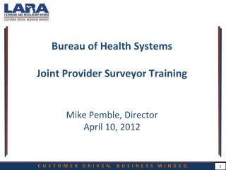 Bureau of Health Systems  Joint Provider Surveyor Training Mike Pemble, Director April 10, 2012