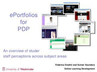 ePortfolios for  PDP