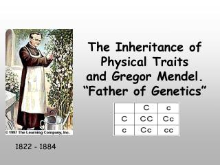 "The Inheritance of Physical Traits and Gregor Mendel. ""Father of Genetics"""