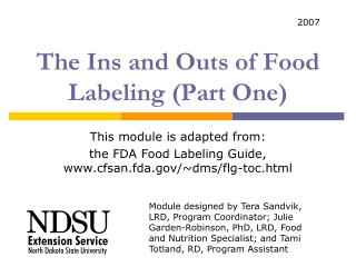 The Ins and Outs of Food Labeling (Part One)