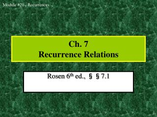 Ch. 7 Recurrence Relations