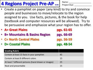 4 Regions  Project Pre-AP  9A 9B