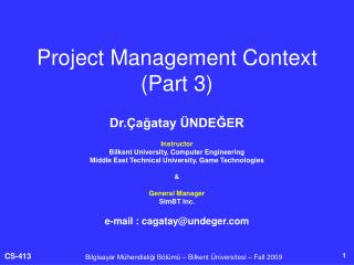 Project Management Context (Part 3)