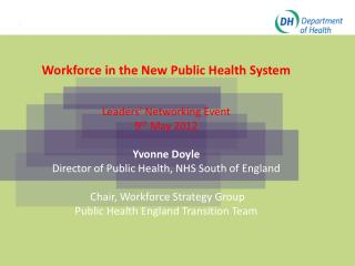 Workforce in the New Public Health System Leaders '  Networking Event 9 th  May 2012 Yvonne Doyle