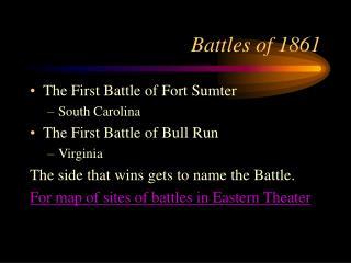 Battles of 1861