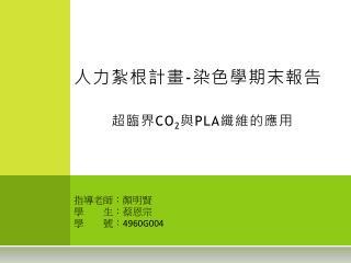人力紮根計畫 - 染色學期末報告 超臨界 CO 2 與 PLA 纖維的應用