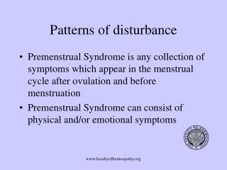 Patterns of disturbance