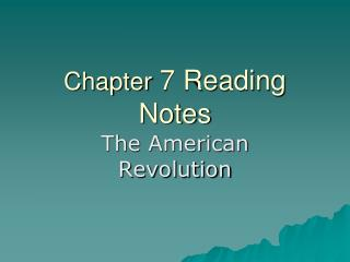 Chapter  7 Reading Notes
