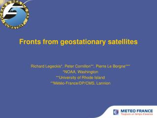 Fronts from geostationary satellites