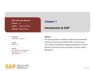 Chapter 1 Introduction to SAP