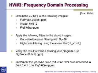 HW#3: Frequency Domain Processing