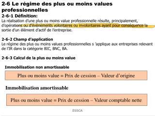 2-6 Le régime des plus ou moins values professionnelles 2-6-1 Définition: