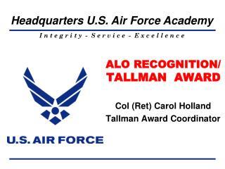 ALO RECOGNITION/ TALLMAN  AWARD
