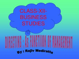 CLASS-XII-BUSINESS STUDIES