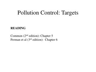 Pollution Control: Targets