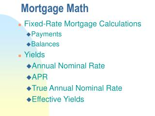 Mortgage Math
