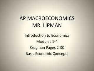 AP MACROECONOMICS MR. LIPMAN