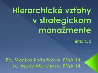 Hierarchické vzťahy v strategickom manažmente Téma č. 2