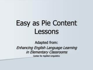 Easy as Pie Content Lessons