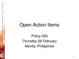 Open Action Items