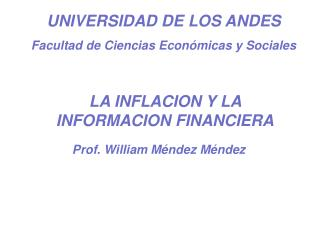 UNIVERSIDAD DE LOS ANDES Facultad de Ciencias Económicas y Sociales