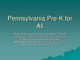 Pennsylvania Pre-K for All