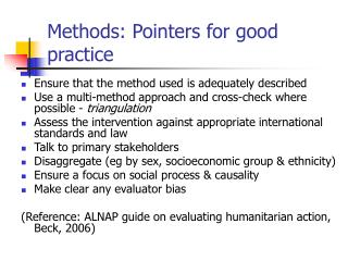 Methods: Pointers for good practice