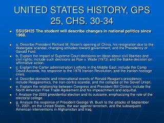 UNITED STATES HISTORY, GPS 25, CHS. 30-34